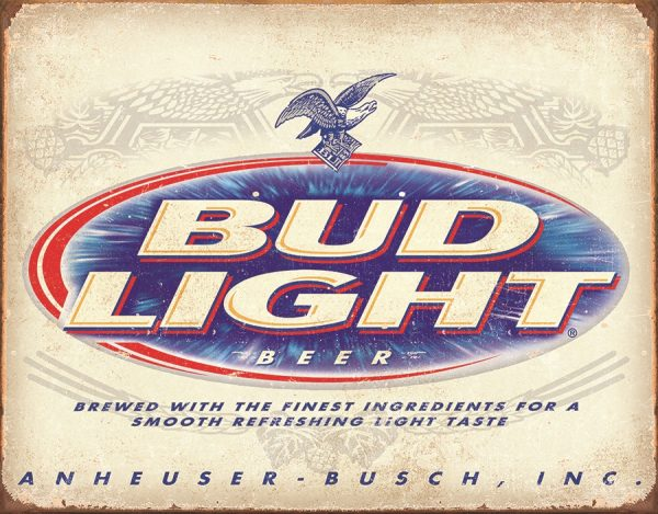 Bud Light Beer - Brewed With The Finest Ingredient (White Background And Blue)