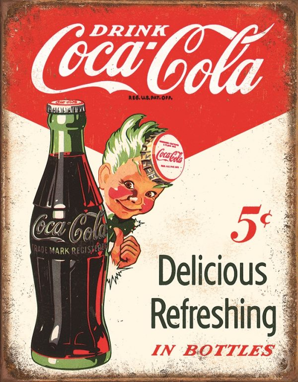 Drink Coca-Cola 5 Cents Delicious Refreshing In Bottles