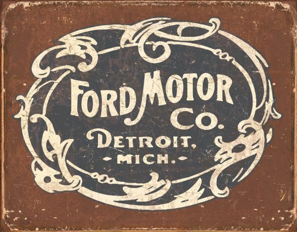 Ford Motor Company (Logo) Detroit Mich - Black And White Lettering on Brown Background