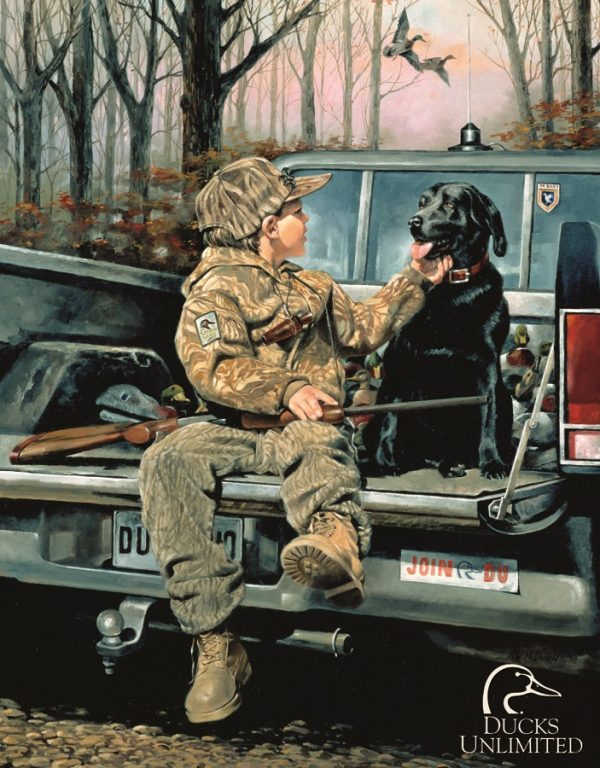 Forever Friends - Little Boy And Dog In Back Of Truck Ready To Hunt