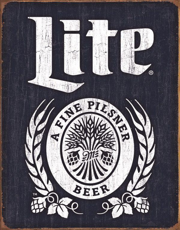 Miller Lite - A Fine Pilsner Beer (Dark Blue Background & White)