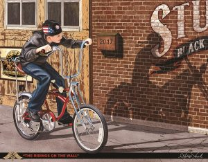 Ridings On The Wall (Boy Riding Bicycle Sees Motorcycle On Wall Shadow)