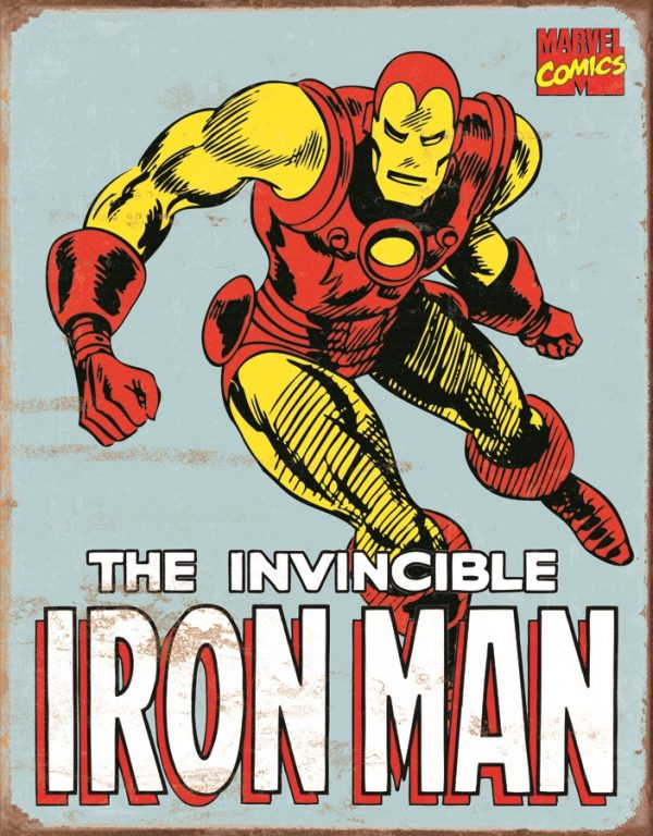The Invincible Iron Man - (Retro) - (Light Blue Background)